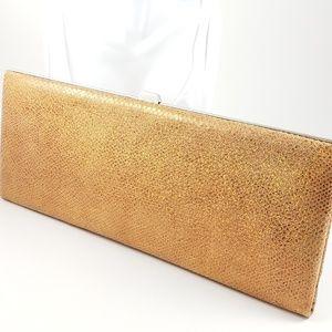 Lodis Long Clutch Metallic Copper Leather